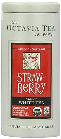 Octavia Tea Strawberry (Organic White Tea) Loose Tea, 1.06 Ounce Tin