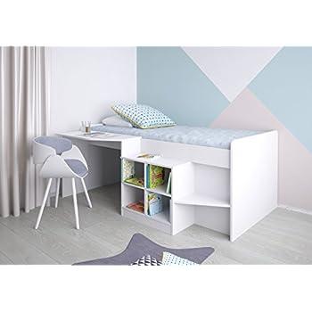 Polini Kids 1574.9 - Letto a soppalco con scrivania e scaffale, colore:  Bianco