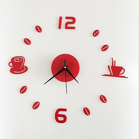 HYSENM Wanduhr Wandsticker Wandaufkleber DIY Acrylglas nicht-tickend modern Funk für Kinderzimmer Wohnzimmer, 2 rote Kaffeetassen