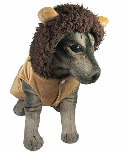 zunea Hund Kostüm Hund Winter Coat Löwe Hunde Kostüm mit Kapuze Medium Hund (Löwe Labrador Kostüm)