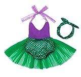 AmzBarley Recién Nacida Bebé Niña Sirena Vestido Cumpleaños Traje Romper con Diadema 2pcs Conjunto Mameluco Disfraz para Fiesta Carnaval Ceremonia