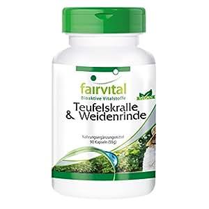 Teufelskralle und Weidenrinde, vegan, ohne Magnesiumstearat, 90 Teufelskralle-Kapseln