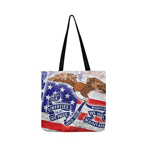 USA Iowa State Flag Vintage Old Stock Illustration Leinwand Tote Handtasche Schultertasche Crossbody Taschen Geldbörsen für Männer und Frauen Einkaufstasche