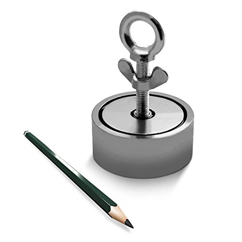 Neodym-Suchmagnet Bergemagnet bis zu 900KG 2 Bohrungen N45 vernickelt Magnetangeln, Suchmagnet:75mm 200KG - 300KG - Festplatte Löschen