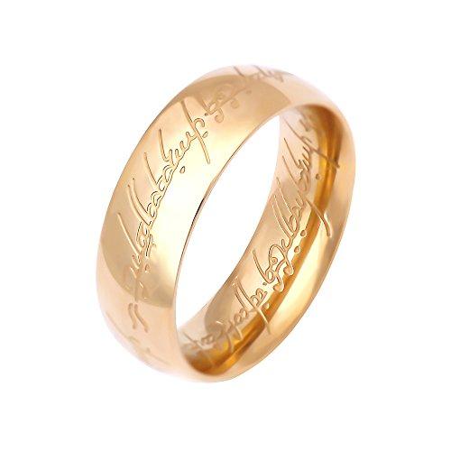 (lureme® Gute Qualität Rostfreier Stahl Engraved Gold Tone Ring for Men Women Teen Mädchen Size 7-9 (A1000002-3))