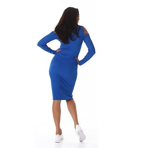Jela London Femmes robe robe pull longueur genou robe en tricot à col roulé côtelé manches longues vent 36,38,40,42 Bleu