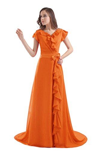 Bridal_Mall -  Vestito  - Senza maniche  - Donna Arancione