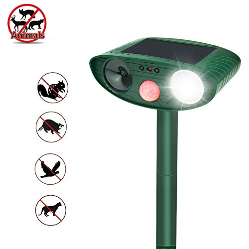 Cat Dog Repelente Ultrasonic Solar Powered Flashing LED Light Animal al aire libre y repelente de plagas