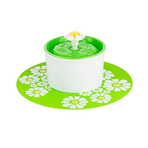 Katzen- Und Hundeautomatik Smart Pet Drinker, Waterer Oxygen Flower Style, Brunnenfiltration, Super Leise Und Hygienisch (Farbe : Grün) - Green Panel Filter