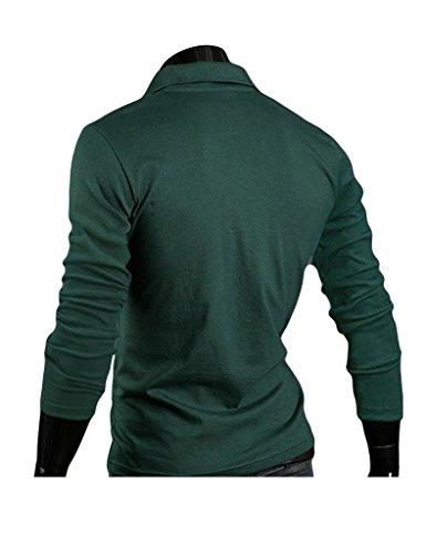Legou Herren Langarm Polohemd Poloshirt Einfarbig Sommer Kentkragen T-Shirt Grün