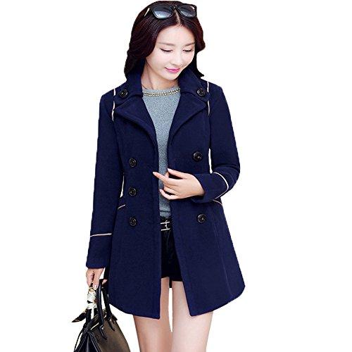 Wollmantel Damen, CRAVOG Volle Hülse Lange Parka Lace Up Oberbekleidung Mäntel Woolen Jacke mit Gürtel für Herbst Winter Navy Blue