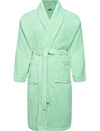 57e95f5690 Adore Home Mens and Ladies 100% Cotton Terry Toweling Shawl Collar White Bathrobe  Dressing Gown