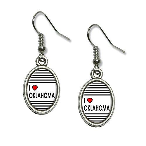 (I love Herz Oklahoma Neuheit Dangling Drop oval Charm-Ohrringe)