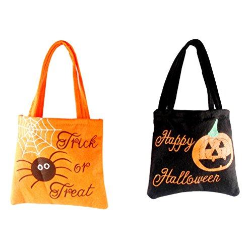 LUOEM 2 Stück Halloween Tasche für Süßigkeiten mit Aufdruck Kinder Geschenk