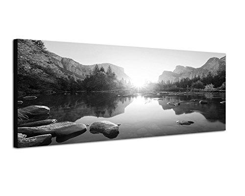 Keilrahmenbild Panoramabild SCHWARZ / WEISS 150x50cm Yosemite Berge Wald Fluss Sonnenaufgang