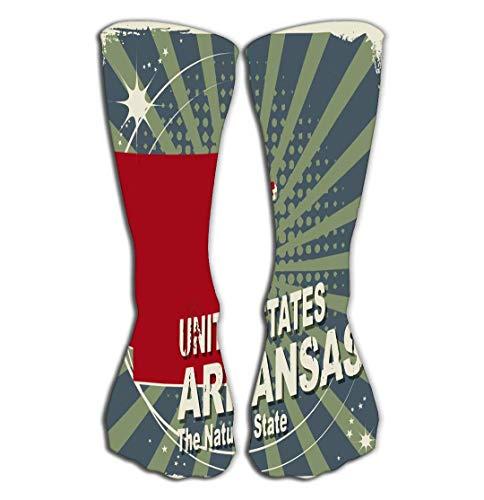 rts Men Women High Socks Stocking Abstract Label Name map Arkansas Tile Length 19.7