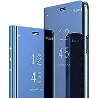 Robinsoni Funda Compatible con Samsung Galaxy A10e Funda Cartera Funda Vista Clara Espejo Carcasa Cuero Libro Cover TPU de Silicona Carcasa Cuaderno Transparente Espejo Funda Billetera Funda Azul