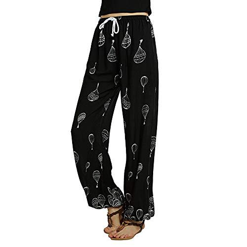 Femmes Pantalon Imprimé, Toamen Pantalon de yoga boho imprimé floral à taille moyenne Pantalon imprimé décontracté Pantalon Jogger en Solde (M, Noir)