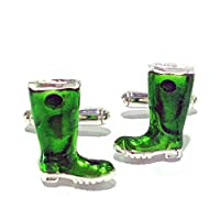 Sterling Silver and Enamel Wellington Boot Cufflinks