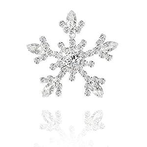 Festliche Weihnachten funkelnden Kristall Schneeflocke Brosche