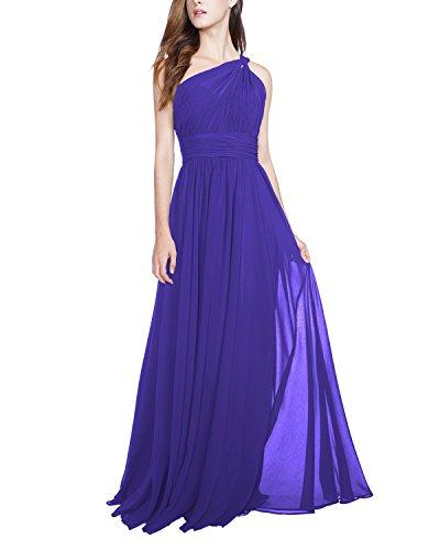 Chiffon abiti da damigella d'onore monospalla maxi nozze formale sera vestito (50, blu)