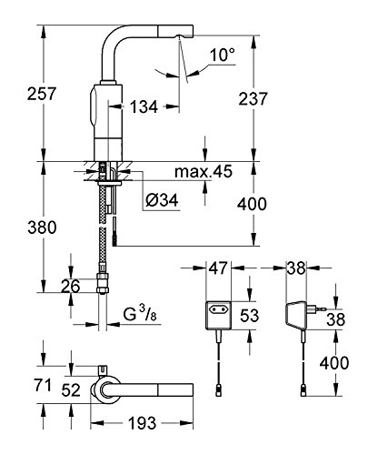 Grohe – IR Infrarot Waschbecken-Sensorarmatur, Kalt- und Warmwasser, mit Steckertrafo, Chrom, Essence E - 2