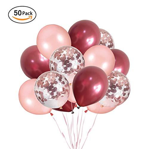 Ohighing 50 Stück Luftballons Weinrot Rose Gold Ballons mit Rosegold Konfetti Helium Ballons für Baby Shower Mädchen Kinder Geburtstag Party Hochzeit Deko (ca.30cm) - Ballon Yoyo