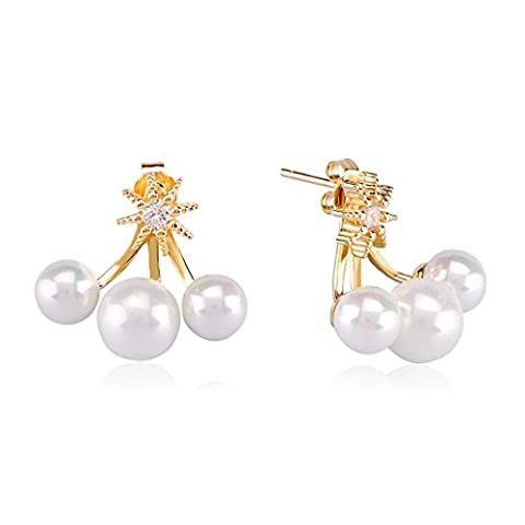 Ingenious Jewellery Damen-Ohrringe 925 Sterling-Silber Silber Rundschliff Mallorca-Zuchtperle Perle