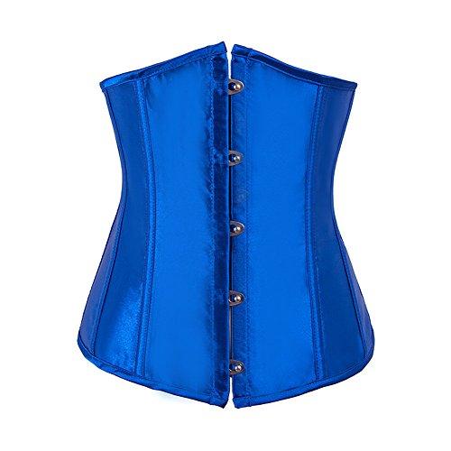 Satin Brocade Lace Up Korsett (FeelinGirl Damen Unterbrustkorsett Satin Bauchweg Corsage Waist Cincher Top Tailenformer Dessous (XXL(Taillen 33''-34'', 82-86cm), Blau))