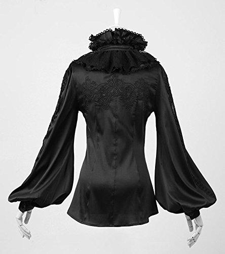 Chemise noire avec jabot et manches bouffantes pirate élégant gothique Noir