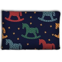 Mizongxia Pillow cases rocking horse silhouette seamless pattern rocking horses dark blue background cute baby shower colorful child 20 * 30inch