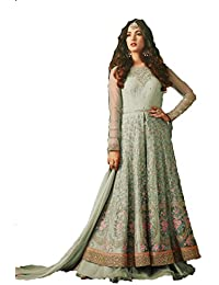 AnK Women's Net Embroidered Long Semi-Stitched Anarkali Salwar Suit