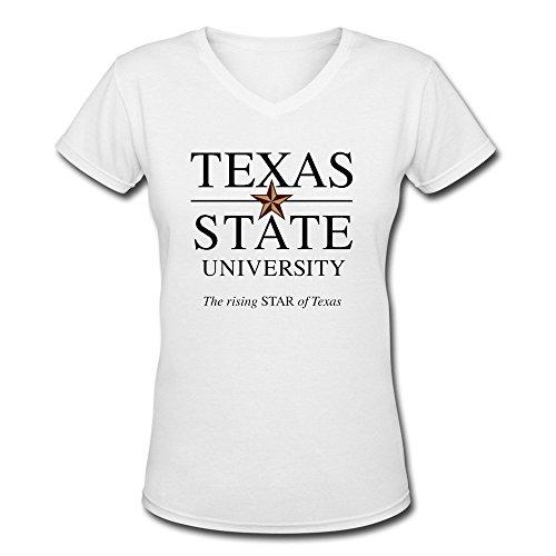 maikeer Lady Texas State University Logo Casual V-Neck Teeshirt (Texas University Womens)