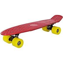 [pro.tec] Skateboard Mini Cruiser Board in rosso-giallo per bambini da 5 e 6 anni / Retro Design (57 x 15 x 12cm) - Pennyboard per Bambini e principiante con ABEC 7 cuscinetto a
