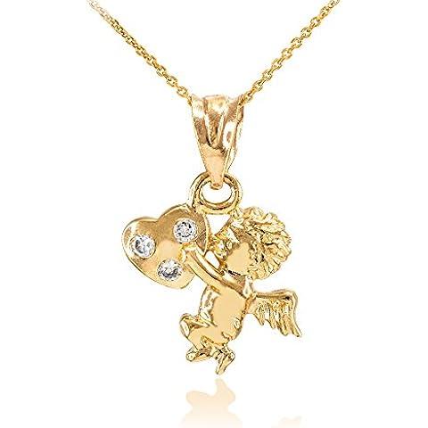 Donne Collana Pendente 14 Ct Giallo Oro Zirconia Borchiata Angelo Cherubino Fascino (Viene Fornito Con Una Catena Da 45cm) - 14k Oro Angelo Fascino