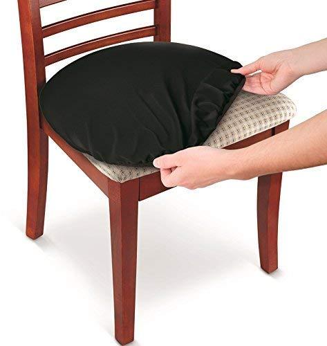 Sohapy 2 Stück Schützende dehnbar passend für runde und quadratische Stühle, strapazierfähiger Stoff (schwarz) (Schwarz, Stoff Dining Chair)