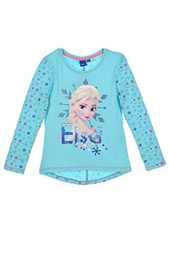 Eiskönigin Kinder longsleeve T-Shirt langarm Top (1081) langarmshirt Oberteil für Mädchen mit Elsa und Anna Motiven, blau, Gr. 128 (Frozen T-shirts)