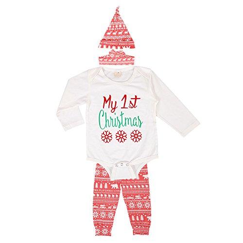 De feuilles Neugeboren Kinder Strampler Weihnachten Bekleidungsset Overall Spielanzug Hose Haarband Langarm Christmas Outfit Set Baby Strapleranuzg 4 PCS (Kostüme Kinder Von Tabellen)