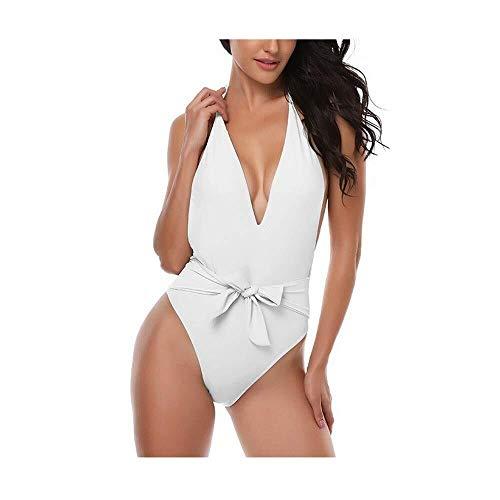 ZALIANG Badeanzug Bikini Spa Beach Badeanzug, V-Ausschnitt Halfter Siamesischer Badeanzug Halfter Krawatte Bauchkontrolle Schlanker Badeanzug (Color : White, Size : X-Large) -
