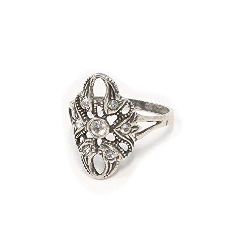 925er Silber Ring mit Swarovski-Steinen Jugendstil-Art Gr. 59