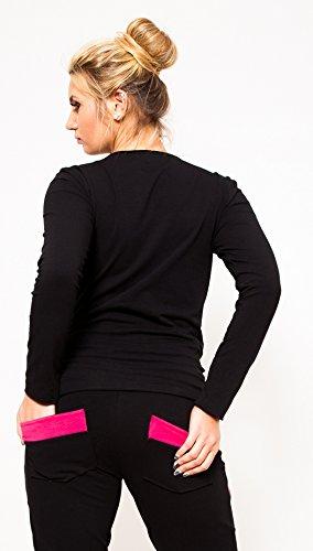 Mija – Pantalons de maternité décontractés Pantalon avec poches 9042 Noir / Pink