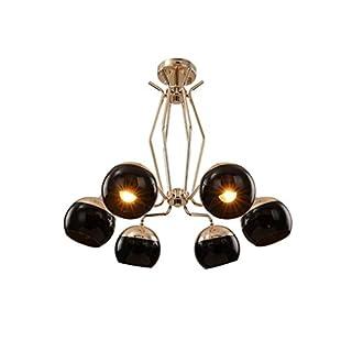 Shan Modern Simple Design Hanging Lamp E14¡Á6 Flammig Gold Metal Pendant Lamp Black Round Glass Lampshade Living Room Lamp Creative Personality Hanging Lamp ?60CM MAX 40W Dining Room