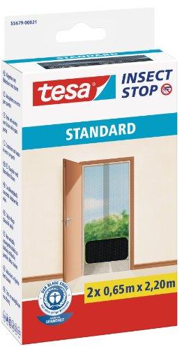 tesa Insect Stop STANDARD Fliegengitter für Türen - 2-tlg Insektenschutz Tür mit Klettband - Fliegen Netz ohne Bohren - Anthrazit, 2 x 65 cm x 220 cm