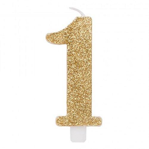 Givi Italia 50831Numeral Glitzer-N.1cm 5, Gold, mehrfarbig (Mädchen Geburtstag Für Kuchen-ideen)