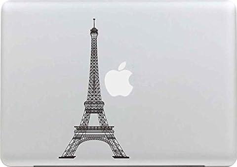 Sticker Macbook, Stillshine New Fashion Creative Art Vinyl Decal Autocollant Noir pour Apple MacBook Pro / Air 13 Pouces pour Ordinateur (Tour Eiffel)