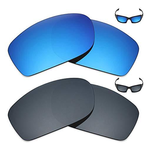 MRY 2Paar Polarisierte Ersatz Linsen für Oakley Fives Squared Sonnenbrille-Reichhaltige Option Farben, Ice Blue & Black Iridium