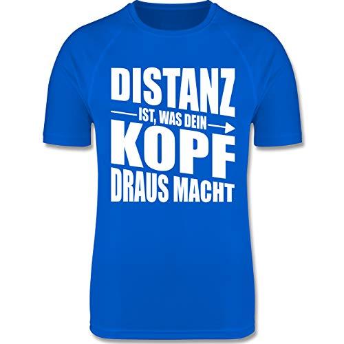 Shirtracer Laufsport - Distanz ist, was Dein Kopf draus Macht - XL - Royalblau - F350 - Herren Laufshirt - Kopf Grün T-shirt