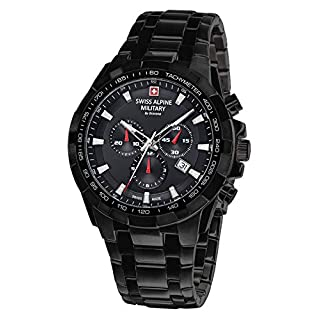 Swiss Alpine Military by Grovana Men's Watch Chrono 10 ATM Black IP 7043.9177SAM