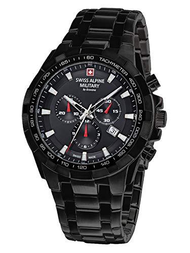 Swiss Alpine Military by Grovana IP 7043.9177 - Reloj con cronómetro, resistencia de 10 ATM, negro, para hombre
