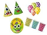 XXL Party Deko Set Monster Party Kindergeburtstag 41 teilig für bis 12 Personen bunt Mädchen Junge Bunte Monster Party